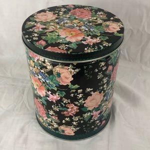 Floral print lidded tin can